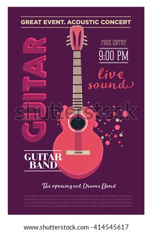 Acoustic guitar concert flyer template. Retro typographical vector poster. Flat style design - stock vector
