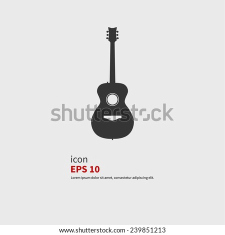 Acoustic guitar icon, vector illustration. Black silhouette. - stock vector