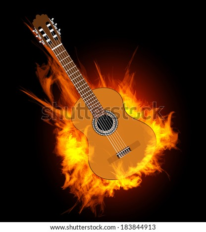 Acoustic guitar in fire flame.  Vector illustration on black - stock vector