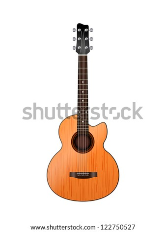 acoustic guitar on a white - stock vector