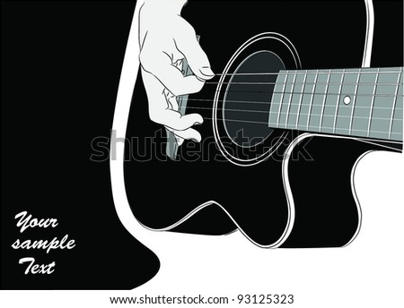 Acoustic guitar playing - vector - stock vector