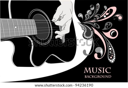 Acoustic guitar playing - vector background - stock vector