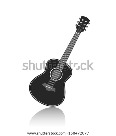 Acoustic guitar symbol monochrome vector illustration - stock vector
