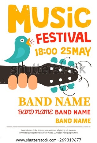 Acoustic music festival poster, flyer with a bird singing on a guitar. Vector illustration - stock vector