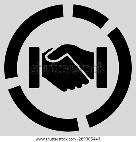 Acquisition diagram icon from Business Bicolor Set. Vector style: flat symbol, black color, rounded angles, light gray background. - stock vector