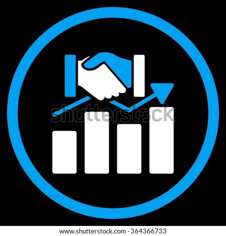 Acquisition Graph vector icon. Style is bicolor flat circled symbol, blue and white colors, rounded angles, black background. - stock vector