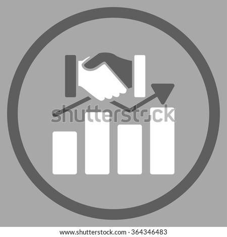 Acquisition Graph vector icon. Style is bicolor flat circled symbol, dark gray and white colors, rounded angles, silver background. - stock vector