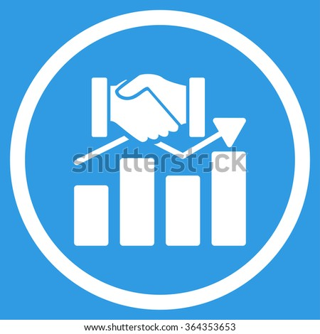 Acquisition Graph vector icon. Style is flat circled symbol, white color, rounded angles, blue background. - stock vector