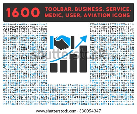 Acquisition Growth vector icon and 1600 other business, service tools, medical care, software toolbar, web interface pictograms. Style is bicolor flat symbols, blue and gray colors, rounded angles - stock vector