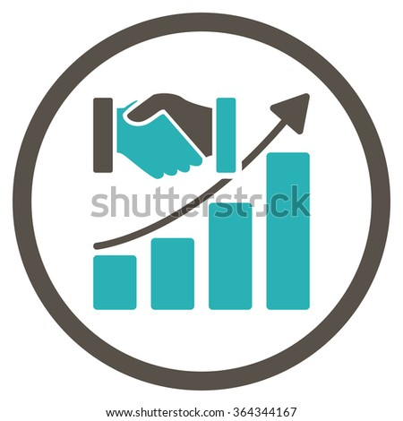 Acquisition Growth vector icon. Style is bicolor flat circled symbol, grey and cyan colors, rounded angles, white background. - stock vector