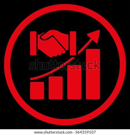 Acquisition Growth vector icon. Style is flat circled symbol, red color, rounded angles, black background. - stock vector