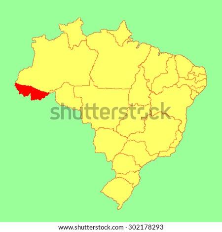 Acre, Brazil, vector map isolated on Brazil map. Editable vector map of Brazil.  - stock vector