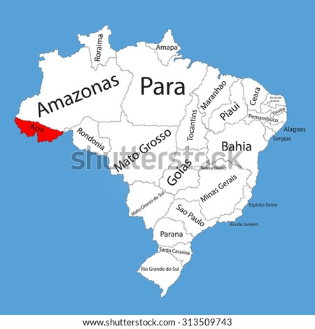 Acre, Brazil, vector map isolated on Brazil map. Editable vector map of Brazil. 