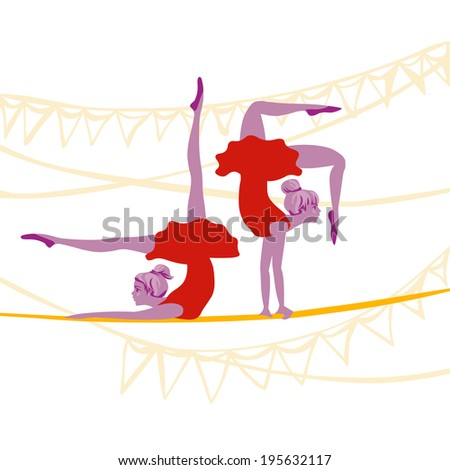acrobat ballerinas excersize on a rope - stock vector