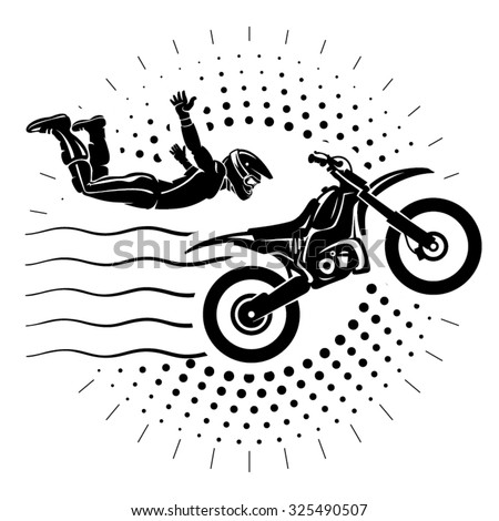 Acrobatic motorcycles jump show. Illustration in the engraving style - stock vector