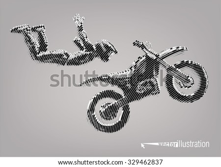 Acrobatic motorcycles jump show. Vector artwork in the style of ink drawing - stock vector