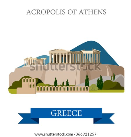 Acropolis of Athens ancient monument in Greece. Flat cartoon style historic sight showplace attraction web site vector illustration. World countries cities vacation travel sightseeing collection. - stock vector
