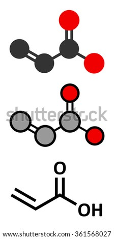 acrylic acid molecule, polyacrylic acid (PAA, carbomer) building block. PAA is used in the production of disposable diapers. Stylized 2D renderings and conventional skeletal formula.  - stock vector
