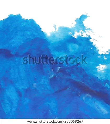 Acrylic and oil blue wave sea hand drawn background. Abstract wet brush panted vector illustration with space for text. Water art design card for decor, scrapbook, banner, wallpaper, poster, print - stock vector
