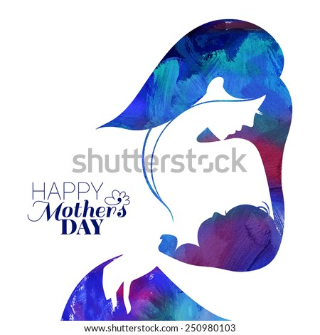 Acrylic painting mother silhouette with her baby. Card of Happy Mothers Day. Vector illustration with beautiful woman and child - stock vector