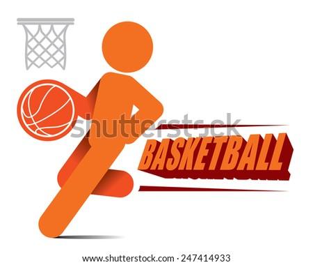 Action Basketball Player Icon for logo design Vector - stock vector