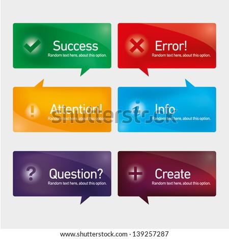 Action button set - stock vector
