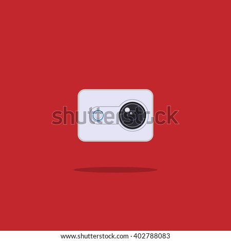 action camera flat icon - stock vector