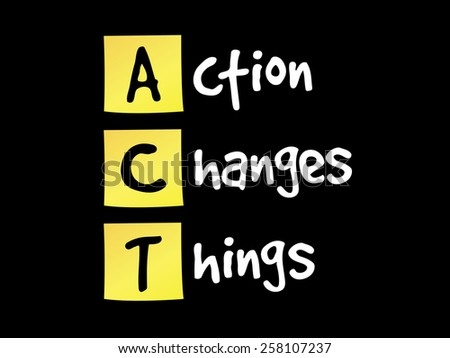 Action Changes Things (ACT) on yellow sticky notes - stock vector