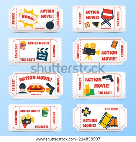 Action movie film cinema professional production tickets set vector illustration - stock vector