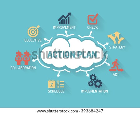 Action Plan - Chart with keywords and icons - Flat Design - stock vector
