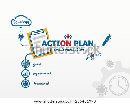 Action Plan concept and notebook. Hand writing Action plan with blue marker - stock vector