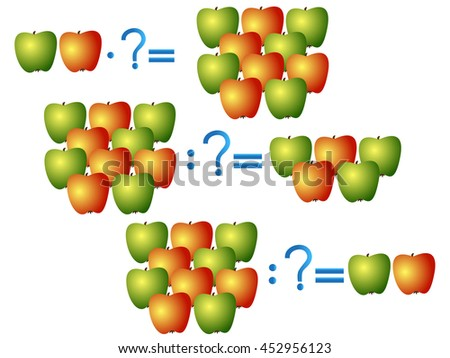 Action relationship of division and multiplication, examples with apples. Educational games for children. - stock vector