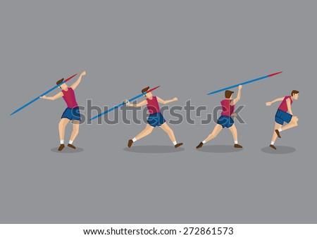 Action sequence of track and field athlete throwing javelin. Vector Character Illustration isolated on grey background. - stock vector
