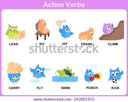 Action Verbs Picture Dictionary (Activity) for kids  - stock vector