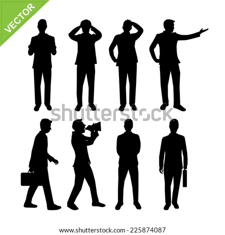 Actions of Business man silhouettes vector - stock vector
