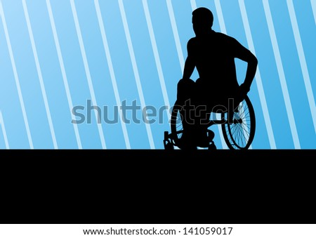 Active disabled man on a wheelchair detailed sport concept silhouette illustration background vector - stock vector