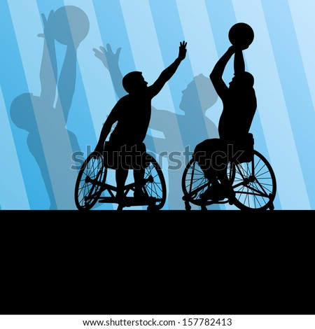 Active disabled men basketball players in a wheelchair detailed sport concept silhouette illustration background vector - stock vector