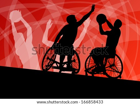 Active disabled young men basketball players in a wheelchair detailed sport concept silhouette illustration background vector - stock vector