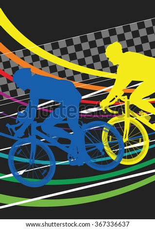 Active healthy men cyclists bicycle riders in abstract sport landscape background illustration vector - stock vector