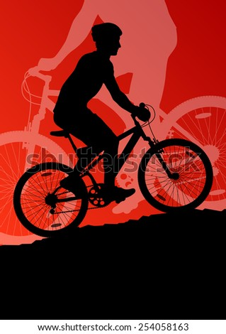 Active men cyclists bicycle riders in landscape background illustration vector - stock vector