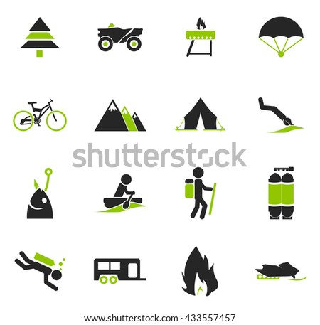 Active recreation simply icons for web and user interfaces - stock vector