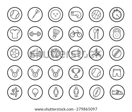Active sport games linear icons set. Vector line art symbols isolated on white  - stock vector