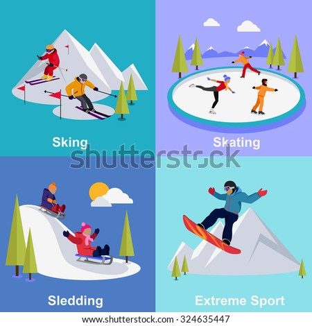 Active winter vacation extreme sports. Sledding and sking, skating and mountain, snow and recreation, travel outdoor, cold and holiday, snowboarder athlete illustration - stock vector