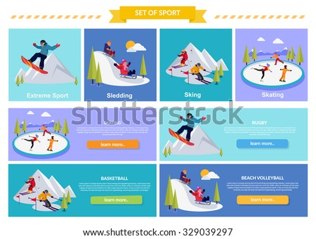 Active winter vacation extreme sports. Sledding and sking, skating and mountain, snow and recreation, travel outdoor, cold and holiday, snowboarder athlete. Extreme sport, sledding, sking, skating - stock vector