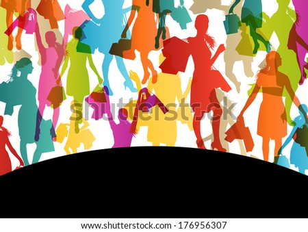 Active woman with shopping bags silhouette vector background abstract concept illustration - stock vector