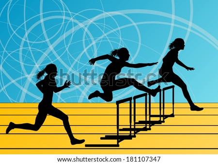 Active women girl sport athletics hurdles barrier running silhouettes illustration background vector - stock vector