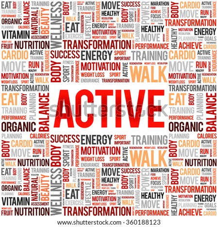 ACTIVE word cloud background, health concept - stock vector