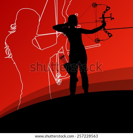 Active young archery sport women silhouettes in abstract background illustration vector - stock vector