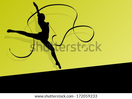 Active young girl gymnast silhouette in acrobatics flying ribbon abstract background illustration vector - stock vector