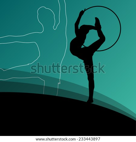 Active young girl gymnasts silhouettes in acrobatics spinning rings abstract background illustration vector - stock vector